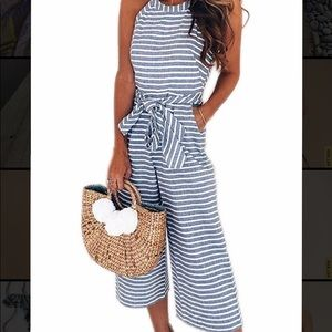 Striped Sleeveless Wide Leg Jumpsuit with Pockets